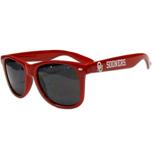 Oklahoma  Sunglasses - Our collegiate  sunglass feature the school logo and name silk screened on the arm of these great retro glasses.  Thank you for shopping with CrazedOutSports.com