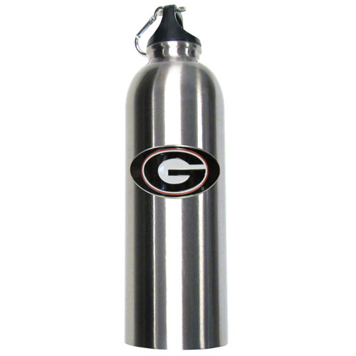 Georgia Bulldogs Steel Water Bottle - Stay hydradeted with a large 32 oz collegiate Georgia Bulldogs water thermos. The Georgia Bulldogs stainless steel water bottle features a fully cast and enameled school emblem. Thank you for shopping with CrazedOutSports.com