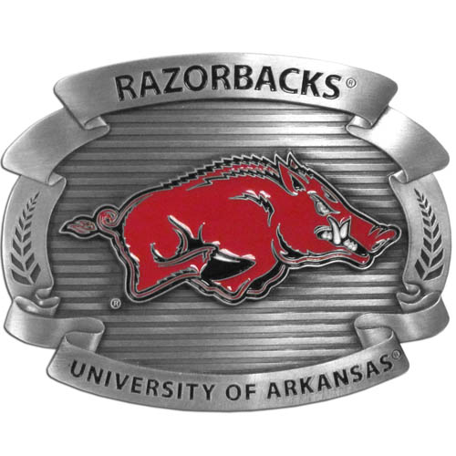 "Arkansas Razorbacks Oversized Buckle - Our college oversized belt buckle is carved and enameled in Arkansas Razorbacks team colors. Features fine detailing and distinctive background. Measure 4 x 3 3/8"". Thank you for shopping with CrazedOutSports.com"