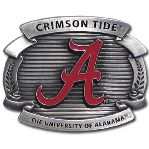 "College Oversized Belt Buckle - Alabama Crimson Tide - Our college oversized belt buckle is carved and enameled in team colors. Features fine detailing and distinctive background. Measure 4 x 3 3/8"". Thank you for shopping with CrazedOutSports.com"