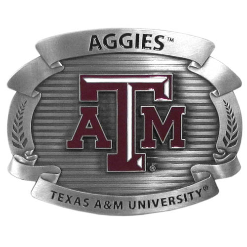 "Texas A and M Aggies Oversized Buckle - Our college oversized belt buckle is carved and enameled in team colors. Features fine detailing and distinctive background. Measure 4 x 3 3/8"". Thank you for shopping with CrazedOutSports.com"