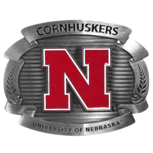"Nebraska Cornhuskers Oversized Buckle - Our college oversized belt buckle is carved and enameled in team colors. Features fine detailing and distinctive background. Measure 4 x 3 3/8"". Thank you for shopping with CrazedOutSports.com"