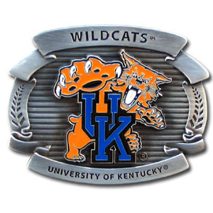 "College Oversized Belt Buckle - Kentucky Wildcats - Our college oversized belt buckle is carved and enameled in team colors. Features fine detailing and distinctive background. Measure 4 x 3 3/8"".  Thank you for shopping with CrazedOutSports.com"