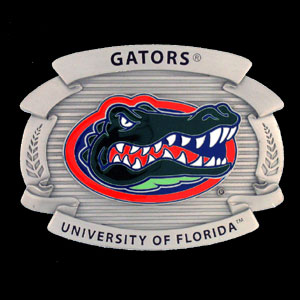 "College Oversized Belt Buckle - Florida Gators - Our college oversized belt buckle is carved and enameled in Florida Gators team colors. Features fine detailing and distinctive background. Measure 4 x 3 3/8"".  Thank you for shopping with CrazedOutSports.com"