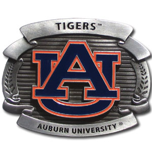 "College Oversized Belt Buckle - Auburn Tigers - Our college oversized belt buckle is carved and enameled in Auburn Tigers team colors. Features fine detailing and distinctive background. Measure 4 x 3 3/8"". Thank you for shopping with CrazedOutSports.com"
