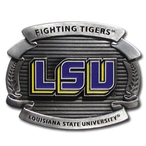 "LSU Tigers College Oversized Belt Buckle - This LSU Tigers college oversized belt buckle is carved and enameled in team colors. Features fine detailing and distinctive background. The LSU Tigers College Oversized Belt Buckle Measure 4 x 3 3/8"". Thank you for shopping with CrazedOutSports.com"