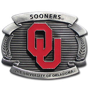 "College Oversized Belt Buckle - Oklahoma Sooners - Our college oversized belt buckle is carved and enameled in team colors. Features fine detailing and distinctive background. Measure 4 x 3 3/8"". Thank you for shopping with CrazedOutSports.com"