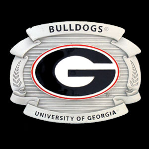 "College Oversized Belt Buckle - Georgia Bulldogs - This Georgia Bulldogs college oversized belt buckle is carved and enameled in team colors. Features fine detailing and distinctive background. Measure 4 x 3 3/8"".  Thank you for shopping with CrazedOutSports.com"