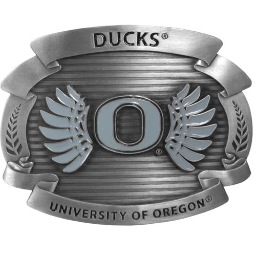 "Oregon Ducks Oversized Buckle - Our college oversized belt buckle is carved and enameled in team colors. Features fine detailing and distinctive background. Measure 4 x 3 3/8"". Thank you for shopping with CrazedOutSports.com"