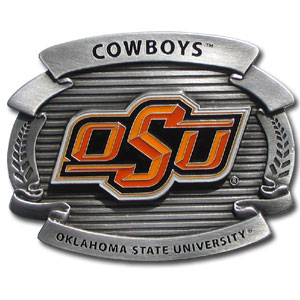 "College Oversized Belt Buckle - Oklahoma St. Cowboys - Our college oversized belt buckle is carved and enameled in team colors. Features fine detailing and distinctive background. Measure 4 x 3 3/8"". Thank you for shopping with CrazedOutSports.com"
