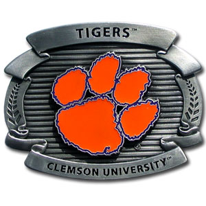 "College Oversized Belt Buckle - Clemson Tigers - Our college oversized belt buckle is carved and enameled in Clemson Tigers team colors. Features fine detailing and distinctive background. Measure 4 x 3 3/8"". Thank you for shopping with CrazedOutSports.com"