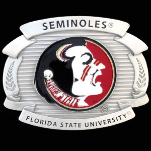 "College Oversized Belt Buckle - Florida State Seminoles - Our college oversized belt buckle is carved and enameled in Florida St. Seminoles team colors. Features fine detailing and distinctive background. Measure 4 x 3 3/8"".  Thank you for shopping with CrazedOutSports.com"