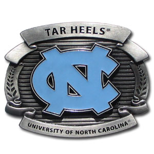 "College Oversized Belt Buckle - N. Carolina Tar Heels - Our college oversized belt buckle is carved and enameled in team colors. Features fine detailing and distinctive background. Measure 4 x 3 3/8"". Thank you for shopping with CrazedOutSports.com"