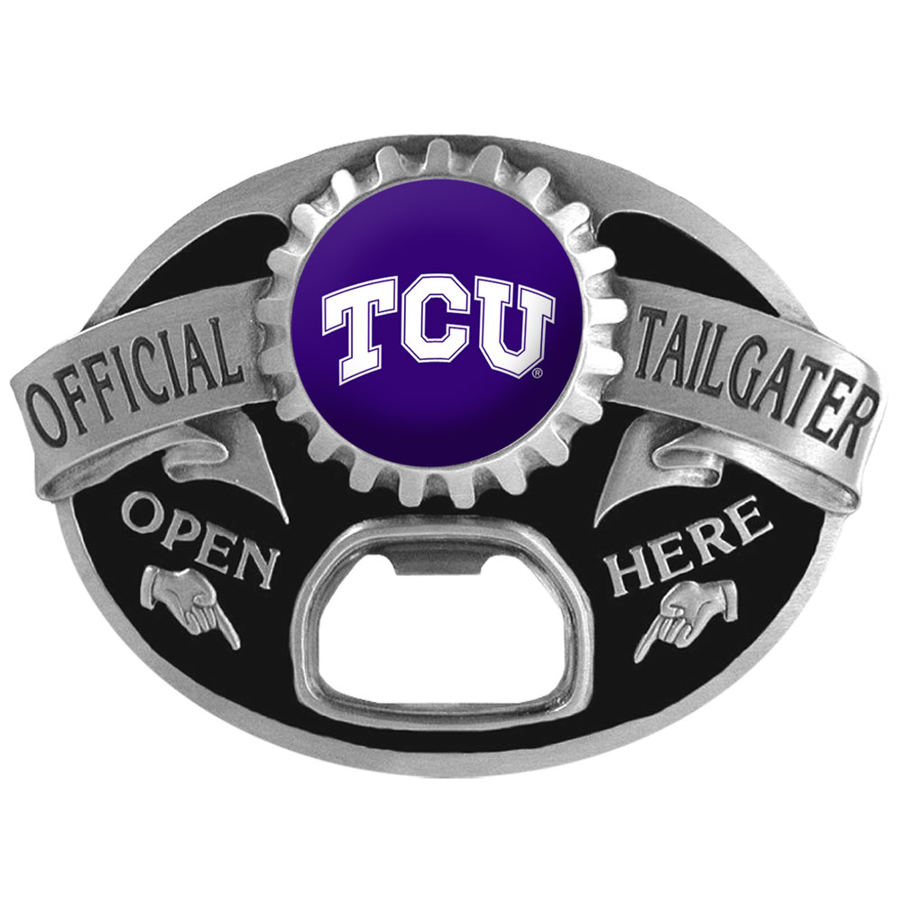 TCU Horned Frogs Tailgater Belt Buckle - Quality detail and sturdy functionality highlight this great tailgater buckle that features an inset domed emblem TCU Horned Frogs dome logo and functional bottle opener.