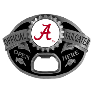 Alabama Crimson Tide Tailgater  Buckle - Quality detail and sturdy functionality highlight this great Alabama Crimson Tide tailgater buckle that features an inset team dome logo. Thank you for shopping with CrazedOutSports.com