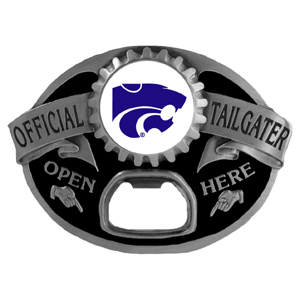 Kansas St. Wildcats Tailgater Buckle - Quality detail and sturdy functionality highlight this great Kansas St. Wildcats tailgater buckle that features an inset Kansas St. Wildcats team dome logo. Thank you for shopping with CrazedOutSports.com