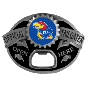Kansas Jayhawks Tailgater  Buckle - Quality detail and sturdy functionality highlight this great Kansas Jayhawks tailgater buckle that features an inset team dome logo. Thank you for shopping with CrazedOutSports.com
