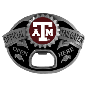 Texas A and M Aggies Tailgater  Buckle - Quality detail and sturdy functionality highlight this great tailgater buckle that features an inset team dome logo. Thank you for shopping with CrazedOutSports.com
