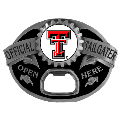 Texas Tech Raiders Tailgater Belt Buckle - Quality detail and sturdy functionality highlight this great tailgater buckle that features an inset domed emblem Texas Tech Raiders dome logo and functional bottle opener.