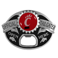 Cincinnati Bearcats Tailgater Belt Buckle - Quality detail and sturdy functionality highlight this great tailgater buckle that features an inset domed emblem Cincinnati Bearcats dome logo and functional bottle opener.
