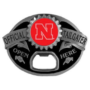 Nebraska Cornhuskers Tailgater  Buckle - Quality detail and sturdy functionality highlight this great tailgater buckle that features an inset team dome logo. Thank you for shopping with CrazedOutSports.com