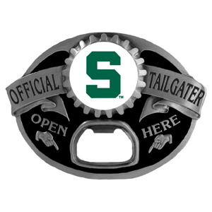 Michigan St. Spartans Tailgater Belt Buckle - Quality detail and sturdy functionality highlight this great Michigan St. Spartans Tailgater Belt Buckle that features an inset team dome logo. Thank you for shopping with CrazedOutSports.com