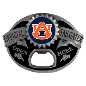 Auburn Tigers Tailgater  Buckle - Quality detail and sturdy functionality highlight this great tailgater buckle that features an inset Auburn Tigers team dome logo. Thank you for shopping with CrazedOutSports.com