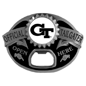 Georgia Tech Yellow Jackets Tailgater Buckle - Quality detail and sturdy functionality highlight this great Georgia Tech Yellow Jackets tailgater buckle that features an inset Georgia Tech Yellow Jackets team dome logo. Thank you for shopping with CrazedOutSports.com