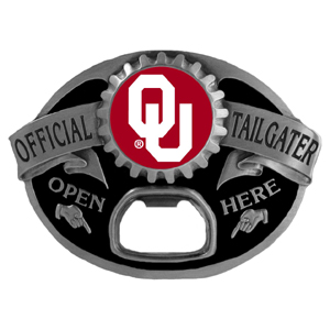 Oklahoma Sooners Tailgater  Buckle - Quality detail and sturdy functionality highlight this great tailgater buckle that features an inset team dome logo. Thank you for shopping with CrazedOutSports.com