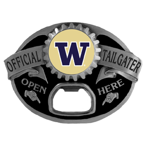 Washington Huskies Tailgater  Buckle - Quality detail and sturdy functionality highlight this great tailgater buckle that features an inset team dome logo. Thank you for shopping with CrazedOutSports.com