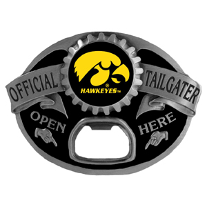 Iowa Hawkeyes Tailgater Buckle - Quality detail and sturdy functionality highlight this great Iowa Hawkeyes tailgater buckle that features an inset team dome logo. Thank you for shopping with CrazedOutSports.com