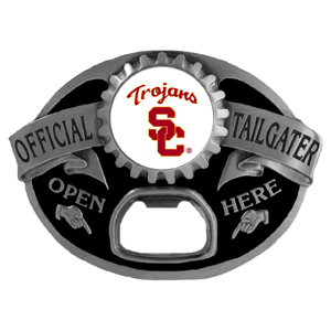 USC Trojans Tailgater  Buckle - Quality detail and sturdy functionality highlight this great tailgater buckle that features an inset team dome logo. Thank you for shopping with CrazedOutSports.com