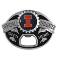 Illinois Fighting Illini Tailgater Belt Buckle - Quality detail and sturdy functionality highlight this great Illinois Fighting Illini tailgater buckle that features an inset domed emblem Illinois Fighting Illini dome logo and functional bottle opener.