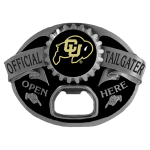 Colorado Buffaloes Tailgater  Buckle - Quality detail and sturdy functionality highlight this great tailgater buckle that features an inset Colorado Buffaloes team dome logo. Thank you for shopping with CrazedOutSports.com
