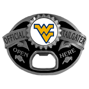 W. Virginia Mountaineers Tailgater  Buckle - Quality detail and sturdy functionality highlight this great tailgater buckle that features an inset team dome logo. Thank you for shopping with CrazedOutSports.com