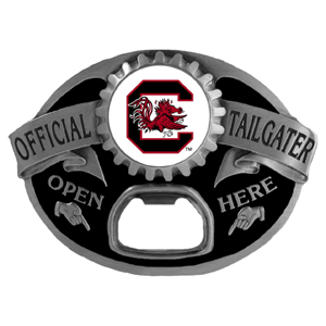 S. Carolina Gamecocks Tailgater  Buckle - Quality detail and sturdy functionality highlight this great tailgater buckle that features an inset team dome logo. Thank you for shopping with CrazedOutSports.com