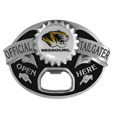 Missouri Tigers Tailgater Belt Buckle - Quality detail and sturdy functionality highlight this great tailgater buckle that features an inset domed emblem Missouri Tigers dome logo and functional bottle opener.