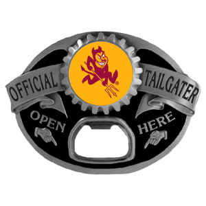 Arizona St. Sun Devils Tailgater  Buckle - Quality detail and sturdy functionality highlight this great tailgater buckle that features an inset Arizona State Sun Devils team dome logo. Thank you for shopping with CrazedOutSports.com
