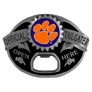 Clemson Tigers Tailgater  Buckle - Quality detail and sturdy functionality highlight this great tailgater buckle that features an inset Clemson Tigers team dome logo. Thank you for shopping with CrazedOutSports.com