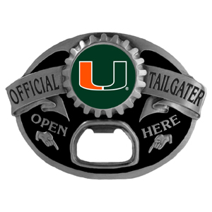 Miami Hurricanes Tailgater Buckle - Quality detail and sturdy functionality highlight this Miami Hurricanes Tailgater Buckle that features an inset team dome logo. Thank you for shopping with CrazedOutSports.com