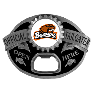 Oregon St. Beavers Tailgater Belt Buckle - Quality detail and sturdy functionality highlight this great tailgater buckle that features an inset domed emblem Oregon St. Beavers dome logo and functional bottle opener.
