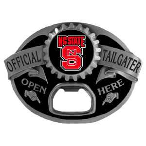 N. Carolina St. Wolfpack Tailgater  Buckle - Quality detail and sturdy functionality highlight this great tailgater buckle that features an inset team dome logo. Thank you for shopping with CrazedOutSports.com