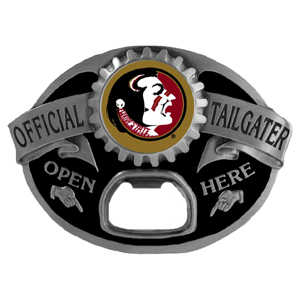 Florida St. Seminoles Tailgater Buckle - Quality detail and sturdy functionality highlight this great Florida State Seminoles tailgater buckle that features an inset Florida State Seminoles team dome logo. Thank you for shopping with CrazedOutSports.com