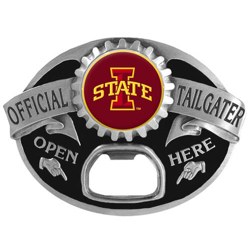 "Iowa St. Cyclones ""I"" Tailgater Buckle Tailgater  Buckle - Quality detail and sturdy functionality highlight this great Iowa St. Cyclones ""I"" tailgater buckle that features an inset team dome logo. Thank you for shopping with CrazedOutSports.com"
