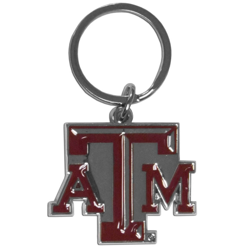 Texas A and M Aggies Enameled Key Chain - Our officially licensed chrome key chain have exceptional 3D detail that really sets this key chain apart from other Texas A & M Aggies key chains. The logo is finely carved and enamel filled with a high polish chrome finish.