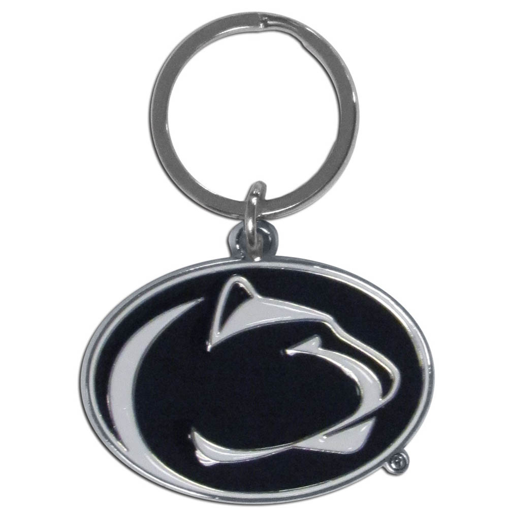 Penn St. Nittany Lions Enameled Key Chain - Our officially licensed chrome key chain have exceptional 3D detail that really sets this key chain apart from other Penn St. Nittany Lions key chains. The logo is finely carved and enamel filled with a high polish chrome finish.