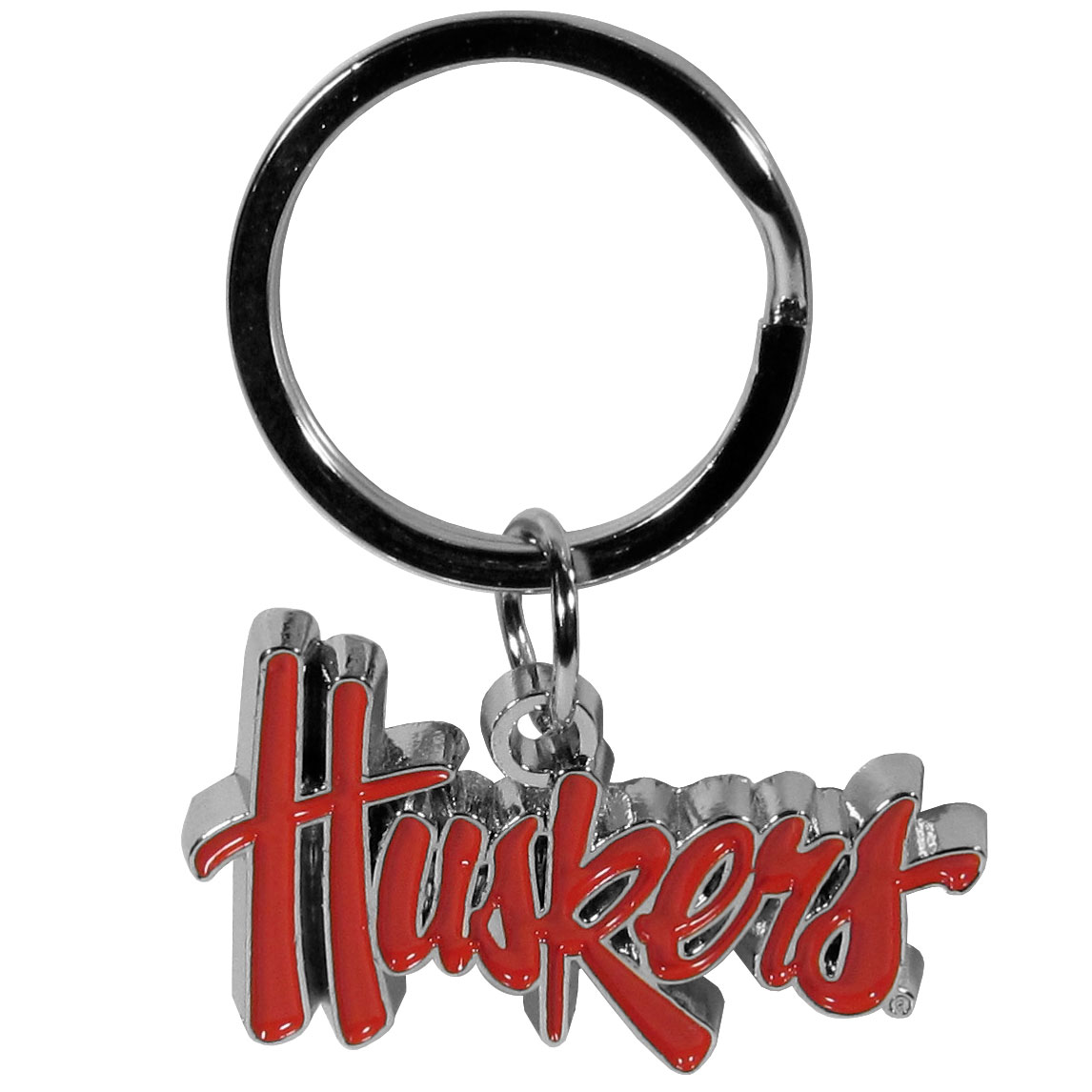 Nebraska Cornhuskers Enameled Key Chain - Our officially licensed chrome key chain have exceptional 3D detail that really sets this key chain apart from other Nebraska Cornhuskers key chains. The logo is finely carved and enamel filled with a high polish chrome finish.