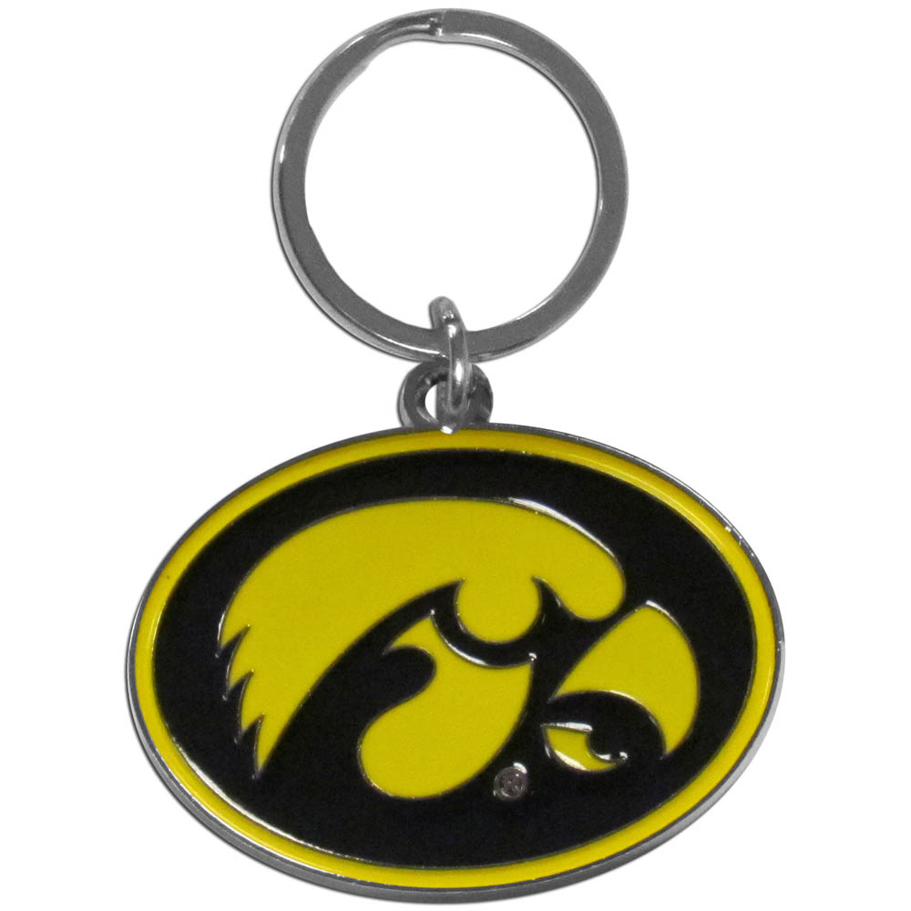Iowa Hawkeyes Enameled Key Chain - Our officially licensed chrome key chain have exceptional 3D detail that really sets this key chain apart from other Iowa Hawkeyes key chains. The logo is finely carved and enamel filled with a high polish chrome finish.