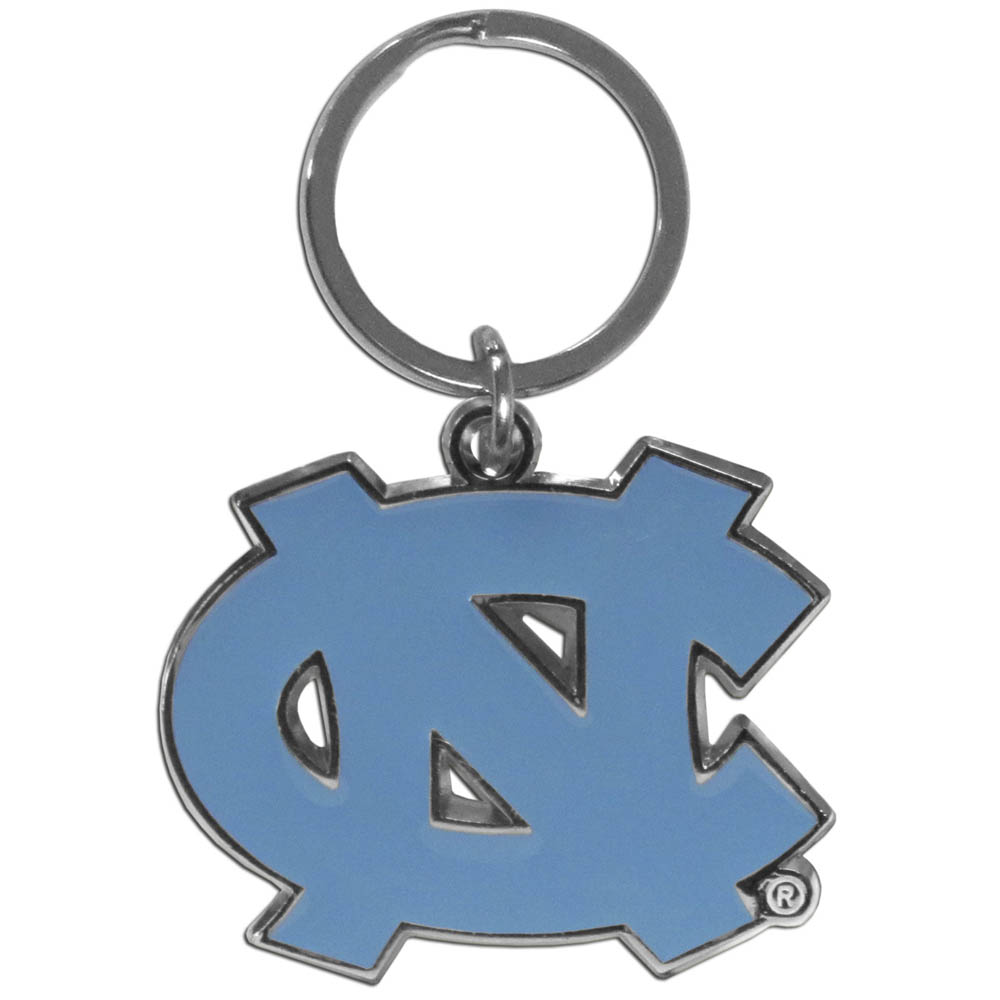 N. Carolina Tar Heels Enameled Key Chain - Our officially licensed chrome key chain have exceptional 3D detail that really sets this key chain apart from other N. Carolina Tar Heels key chains. The logo is finely carved and enamel filled with a high polish chrome finish.