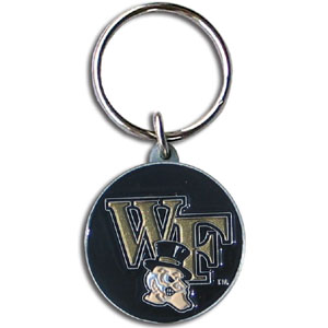 Wake Forest College Key Chain -  college team logo key ring is sculpted and enameled. A great way to show school spirit! Check out our entire line of  collegiate key rings! Thank you for shopping with CrazedOutSports.com